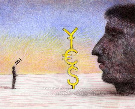Large face looking at currency symbols, small man saying 'no'