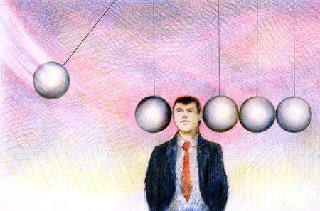 Businessman standing between moving balls of Newton's cradle