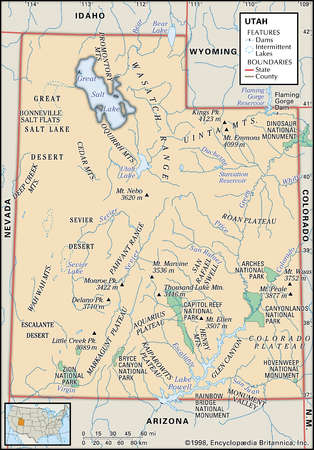 Physical map of the state of Utah showing national parks, mountains  and other features