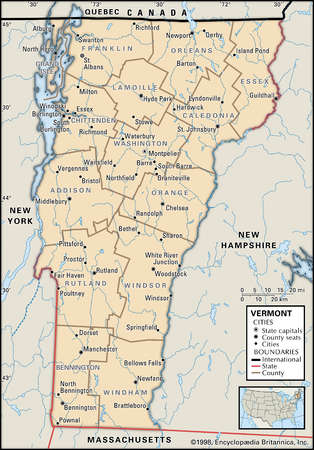 Map of the state of Vermont