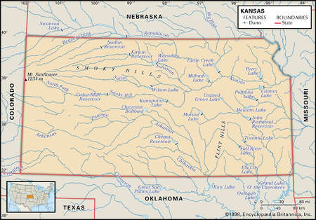Stock Illustration Physical Map Of The State Of Kansas Showing - Nebraska physical map