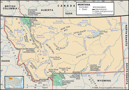 Physical map of the state of Montana showing national parks, lakes and other features