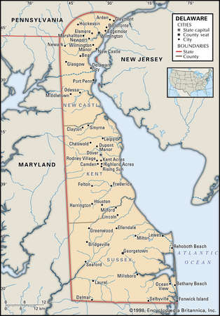 Map of the state of Delaware