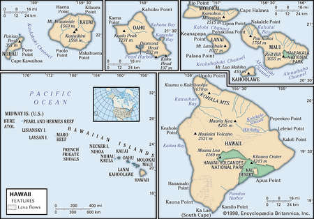 Physical map of the state of Hawaii showing mountains, national parks and other features