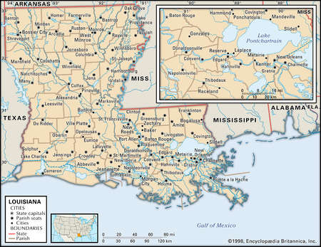 Map of the state of Louisiana, including an inset of New Orleans and Lake Pontchartrain