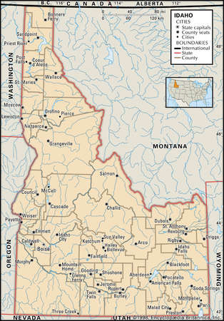 Map of the state of Idaho