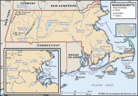 Physical map of the state of Massachusetts with an inset of the Boston area, showing lakes, rivers, and other features