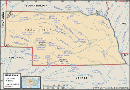 Physical map of the state of Nebraska showing major dams, lakes and other features