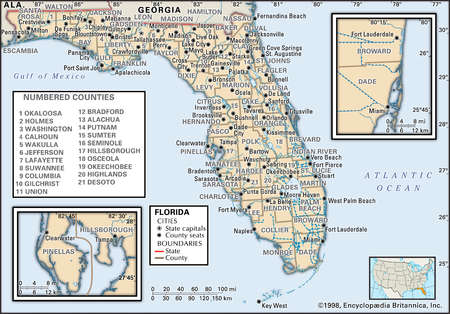 Map of the state of Florida  showing counties and county seats, with insets of the Miami and Tampa/St. Petersburg metropolitan regions