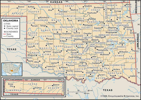 Map of the state Oklahoma showing counties and county seats
