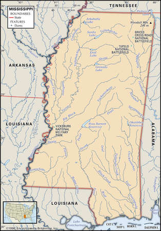 Physical map of the state of Mississippi showing rivers, dams and other features