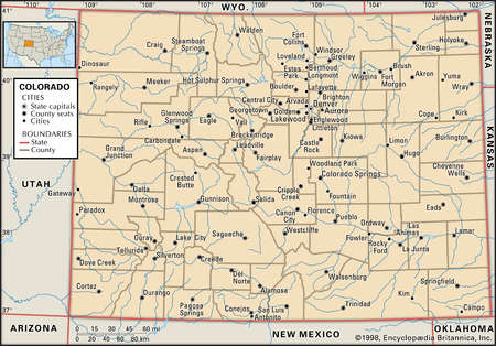 Map of the state of Colorado