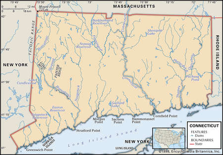 Stock Illustration Physical Map Of The State Of Connecticut - Massachusetts physical map