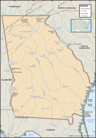 Physical map of the state of Georgia
