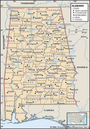 Map of the state of Alabama showing county seats