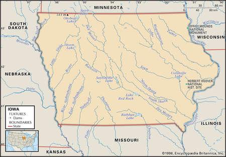 Illustration Source Stock Illustration - Iowa river map