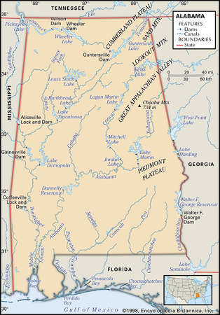 Physical map of the state Alabama