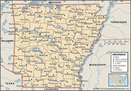 Map of the state of Arkansas