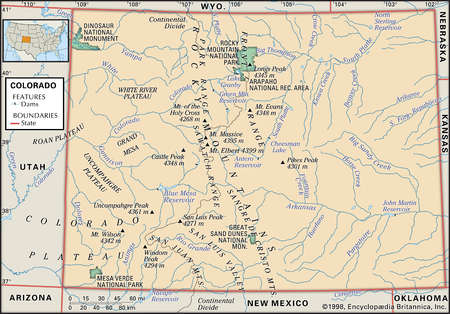 Physical map of the state of Colorado showing major national parks, creeks and other features