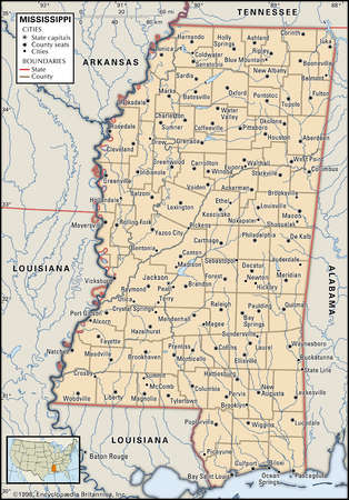 Map of the state of Mississippi