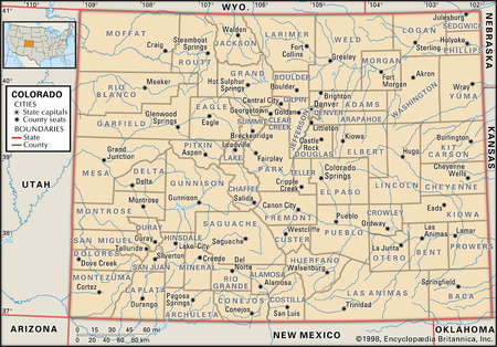Map of the state of Colorado  showing counties and county seats