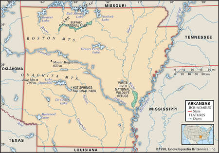 Physical map of the state of Arkansas showing major national parks and other features