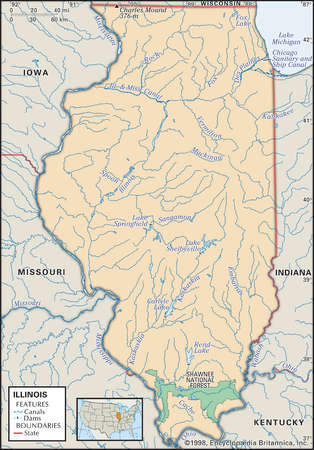 Physical map of the state of Illinois showing lakes, national forest and other features