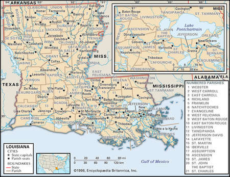 Map of the state of Louisiana  showing parishes and parish seats