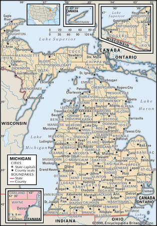 Map of the state of Michigan showing counties and county seats