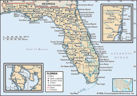 Map of the state of Florida, with insets of the Miami and Tampa/St. Petersburg metropolitan regions