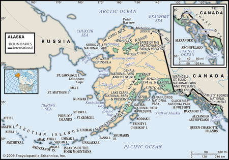 Stock Illustration Physical Map Of The State Of Alaska With An - Physical map of alaska