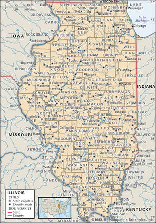 Map of the state of Illinois  showing counties and county seats