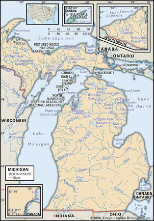 Physical map of the state of Michigan showing lakes and other features