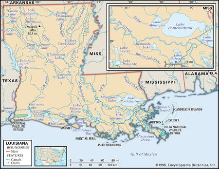 Physical map of the state of Louisiana, including an inset of New Orleans and Lake Pontchartrain, showing lakes, rivers, and other features