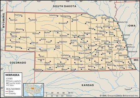 Map of the state of Nebraska