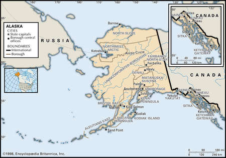 Map of the state of Alaska, showing county seats