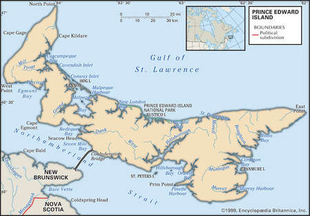 Stock Illustration Physical Map Of Prince Edward Island Canada - Physical features in canada