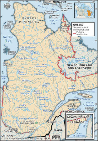 Stock Illustration Physical map of Quebec Canada showing major