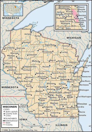 Map of the state of Wisconsin, with an inset of the Milwaukee metropolitan area