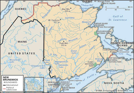 Physical map of New Brunswick, Canada, showing national parks, mountains and other features