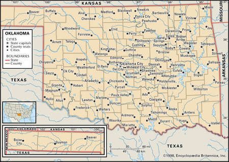Map of the state of Oklahoma