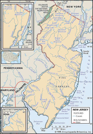 Stock Illustration Physical Map Of The State Of New Jersey - New jersey physical map