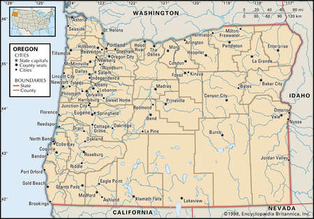 Map of the state of Oregon