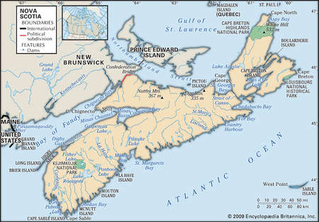 Stock Illustration Physical map of Nova Scotia Canada showing