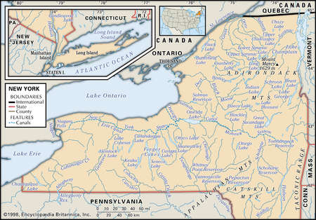 Physical map of New York showing major rivers, mountain ranges, lakes and other features