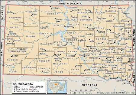 Map of the state of South Dakota showing counties and county seats