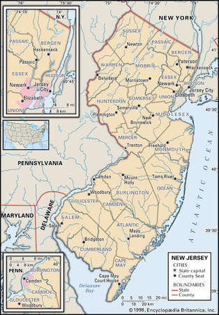 Map of the state of New Jersey showing counties and county seats