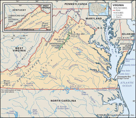 Physical map of the state of Virginia showing lakes, and other features