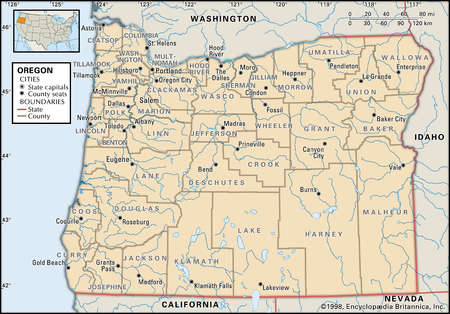 Map of the state of Oregon showing counties and county seats