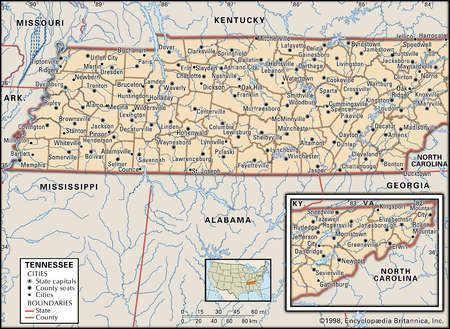 Stock Illustration Map Of The State Of Tennessee - Map of the state of tennessee